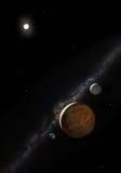 espaço 3d com planetas em um fundo preto Fotos de Stock Royalty Free