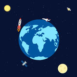 Espaço da bandeira com planetas, foguete, satélite e aviões ilustração royalty free