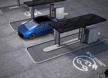 Espaço da estação de carregamento do veículo elétrico em público imagens de stock