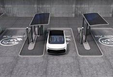 Espaço da estação de carregamento do veículo elétrico em público foto de stock royalty free