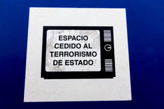 Espaço dado à mensagem do terrorismo de estado em Argentina Foto de Stock Royalty Free