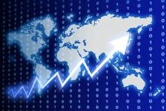 Espaço de dados azul do mundo Fotos de Stock