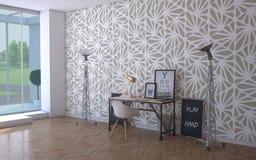 Espaço de funcionamento com papel de parede Fotos de Stock Royalty Free