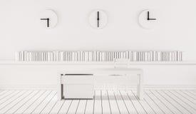 Espaço de funcionamento minimalista com os três pulsos de disparo diferentes do fuso horário na parede, 3d rendido ilustração do vetor