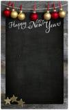 Espaço de madeira da cópia do quadro-negro do menu do restaurante do ano novo feliz fotografia de stock royalty free