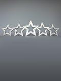 Espaço de prata da cópia de cinco estrelas Fotos de Stock