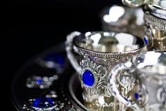 Espaço de prata II da cópia do jogo de chá imagem de stock royalty free