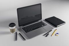 Espaço de trabalho com portátil emtpy ilustração do vetor