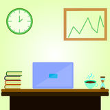 Espaço de trabalho do escritório dos desenhos animados com pulso de disparo Fotos de Stock