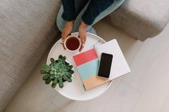 Espaço de trabalho feminino da mesa com planta carnuda, livro da cópia, um copo do chá e o AirPods no fundo branco Configura??o l imagem de stock royalty free