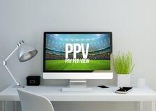 espaço de trabalho limpo moderno com pay per view na tela Imagem de Stock