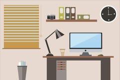 Espaço de trabalho liso do escritório da ilustração do projeto Fotos de Stock Royalty Free
