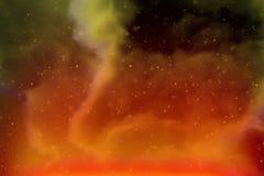 Espaço dinâmico abstrato do amarelo da fantasia e fundo colorido das estrelas com faíscas e nuvens fotografia de stock royalty free