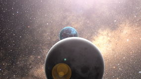 Espaço do zumbido à terra do planeta na noite da zona de Europa. ilustração stock