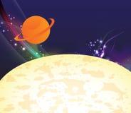 Espaço dos desenhos animados com planetas Fotos de Stock Royalty Free