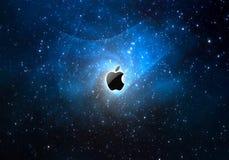 Espaço e maçã ilustração stock