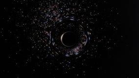 Espaço e tempo que estão sendo sugados por um buraco negro em um conjunto de estrela filme