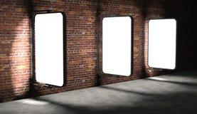 espaço em branco 3d que anuncia quadros de avisos na parede de tijolo Imagem de Stock