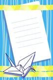 Espaço em branco do vetor com guindaste do origami Fotografia de Stock Royalty Free