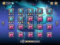 Espaço fabuloso com os planetas alegres com os níveis da tela do exemplo, a relação da ilustração do jogo com uma barra do progre Imagens de Stock