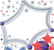 Espaço festivo das estrelas com flocos de neve Imagens de Stock