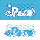 espaço Ilustração lisa com tipográfico Fotografia de Stock