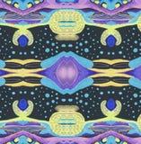 Espaço lilás amarelo azul preto do ornamento Imagens de Stock Royalty Free