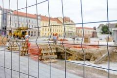 Espaço limitado em torno do terreno de construção Fotos de Stock