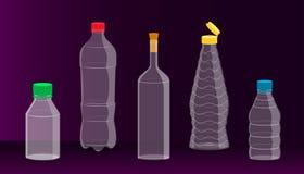 Espaço livre na garrafa de vidro e plástica para seu presente da promoção do condimento da bebida fundo forte bonito Vetor ilustração stock