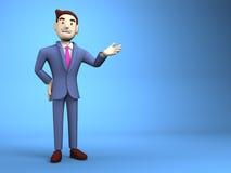 Espaço novo de On Blue Text do homem de negócios Fotografia de Stock Royalty Free
