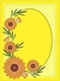 Espaço oval amarelo da cópia do Eps 10 do vetor com guingão Fotos de Stock