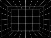 Espaço preto com grade da perspectiva, 3d Imagem de Stock