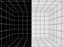 Espaço preto e branco com grade da perspectiva, 3d Fotos de Stock