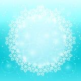 Espaço redondo branco da cópia com decoração do floco de neve Foto de Stock Royalty Free