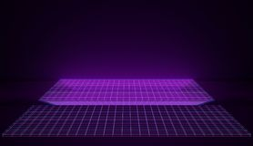 Espaço retro de néon Cybernetic em grades de incandescência cor-de-rosa e azuis 3d rendem imagem de stock