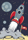 Espaço retro Rocket Lifts Off Fotos de Stock