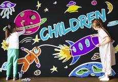 Espaço Rocket Joyful Graphic Concept da imaginação das crianças Fotos de Stock Royalty Free