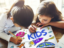 Espaço Rocket Planet Graphic Concept das crianças Imagens de Stock