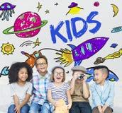 Espaço Rocket Planet Graphic Concept das crianças Imagem de Stock Royalty Free