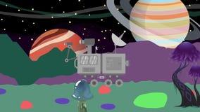 Espaço Rover Driving e dados da coleta em um planeta estrangeiro ilustração do vetor