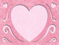 Espaço vazio do cartão cor-de-rosa elegante do coração do dia de mães Foto de Stock