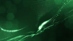 Espaço virtual com profundidade de campo O fundo holográfico dado laços com partículas forma linhas, superfícies, grade Ver verde ilustração stock