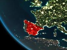 España en la noche de la órbita stock de ilustración