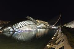 España, la ciudad de artes y de ciencias de Valencia por noche fotografía de archivo libre de regalías
