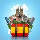 España, señales Madrid y Barcelona, viaje Imagen de archivo