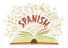 español El libro abierto con la mano de la lengua dibujada garabatea y las letras stock de ilustración