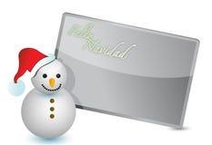Español - ilustración de la tarjeta de Navidad del muñeco de nieve Fotos de archivo