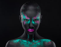 Espace chromatique bleu d'oeil au beurre noir de rose de maquillage de fille Photos stock