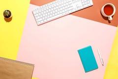 Espace de travail à la mode de siège social Composition plate de configuration de clavier, de cactus, de journal intime avec le s Photos stock
