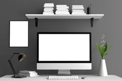 Espace de travail, écran d'ordinateur et moquerie modernes de cadre  3d Images stock